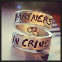 Partners in crime handcuffs inside spiral hand stamped BFF rings