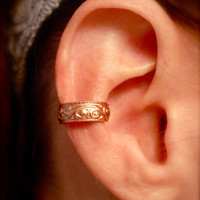 Copper Ear Cuff with Embossed Swirls by jhammerberg on Etsy