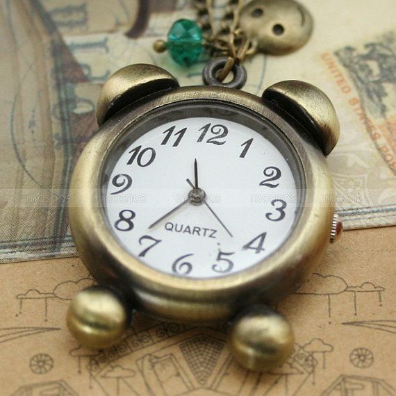 Vintage pocket watch necklace with antique bronze clock by mosnos
