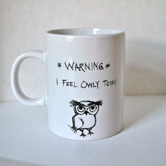Warning I Feel Owly Grumpy Owl Ceramic Coffee mug by heatherloneil