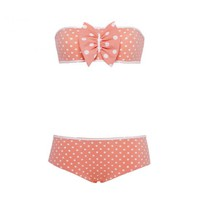 Bikini - LEA dots - coral by Velvette - Corail and white dots bandeau bikini with a maxi bow.