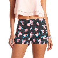 Floral Printed High-Waisted Shorts by Charlotte Russe - Black Combo