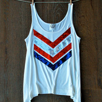 4th of July Sequin Chevron Tank Tee T Shirt - Red White and Blue USA 4th of July America