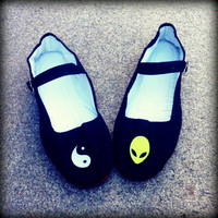 Alien & Yin Yang Cotton Mary Jane Shoes 90's  Any Size Limited Quanity