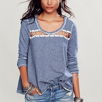 Free People Womens Criss Cross Pullover - Navy,
