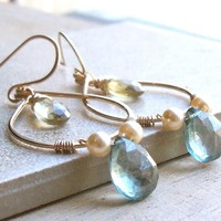 Gold Filled Gemstone Hoop Earrings, Wire Wrapped Gold Dangle Hoops | Luulla