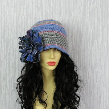 Women's Hat - Beanie Hat - Winter Accessories Cloche Hat - Felt Flower Brooch - Fall Fashion - OOAK