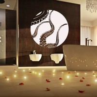 Wall Decal Decor Decals Sticker Art Design Vinyl Octopus Tentacles Fish Jellyfish Deep Sea Ocean Animals Bedroom Bathroom (M1144)