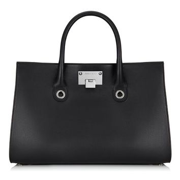 Black Smooth Leather and Suede Tote Bag | Riley | Pre Fall 14 | JIMMY CHOO Totes