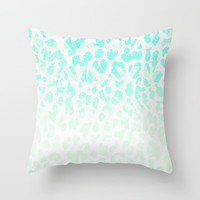 Vintage Teal Leopard Throw Pillow by M Studio