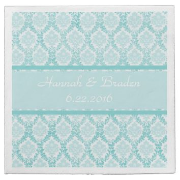 Aqua Vintage Damask Wedding Napkin