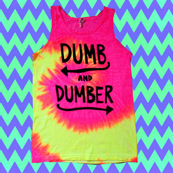 Neon Tie Dye DUMB AND DUMBER Funny Stone Muscle Tank