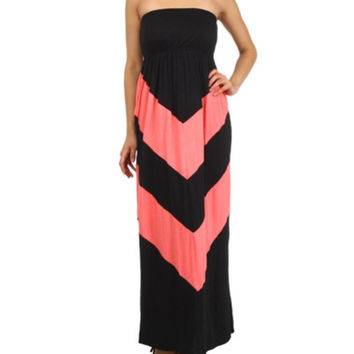 In Style Black/Coral Halter Maxi Dress