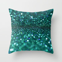 turquoise glitter Throw Pillow by Hannah Lancaster