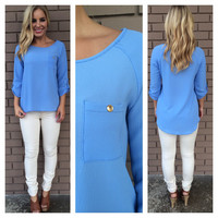 Powder Blue Pocket 3/4 Sleeve Blouse
