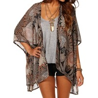 Lace Back Chiffon Printed