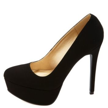 Nubuck Almond Toe Platform Pumps by Charlotte Russe - Black