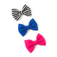 Black and White Stripe, Pink and Blue Mini Bow Hair Clips Set of 3