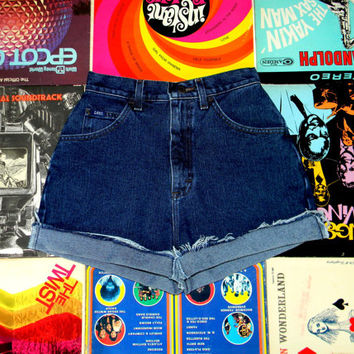 Vintage Denim Cut Offs - 80s High Waisted Dark Wash Jean Shorts - Frayed/Rolled Up/Cuffed HIGH WAIST Lee Shorts Size 2/4 S Small