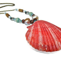 Pink Seashell Necklace beach bride Hawaiian by MermaidTearsDesigns