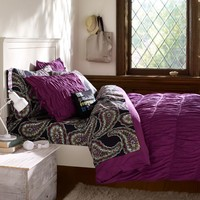 Ruched Duvet Cover + Sham, Plum