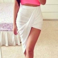 White Ruched Twist Draped Asymmetric Stretchy Waist High Low Mini Maxi Skirt