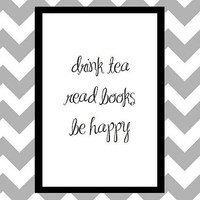 Drink Tea - Quote Art Print by prettypetalspaper on Etsy