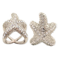 Silver Metal Rhinestone Starfish Ring - Unique Vintage - Cocktail, Evening, Pinup Dresses