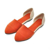 Wholesale 2012 spring and autumn new style caspate toe flats Z-HC103 apricot - Lovely Fashion