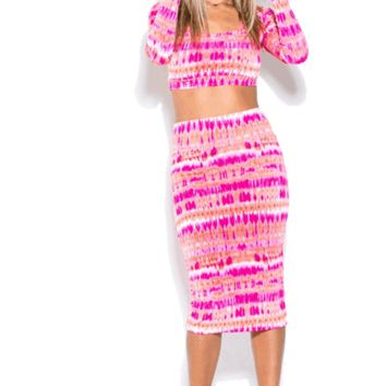 Fuchsia Two Piece Bodycon Set | HGD99