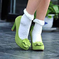Wholesale 2012 Import genuine leather flower thick heel lady shoes Z-LLD2130 green - Lovely Fashion