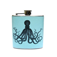 Blue Nautical Octopus Maritime Flask - Unique Vintage - Cocktail, Evening, Pinup Dresses