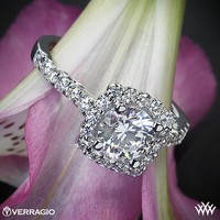 18k White Gold Verragio Cushion Halo Diamond Engagement Ring