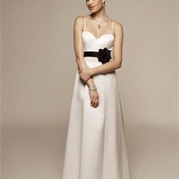 Column Spaghetti Strap With Belt White Black Bridesmaid Dress BD0023