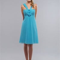 Knee-length Strap With Hand Made Flower Sky Blue Bridesmaid Dress BD0030