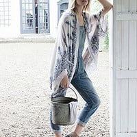 Free People Womens Sammy Raw Edge Kimono -