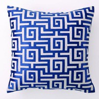 Greek Key Embroidered Pillow - Navy NEW