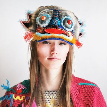 UTHA Blue Dragon headdress - hat -mask - festival headdress- Rave wear