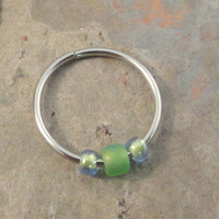 Lime Green Beaded Cartilage Hoop Earring Septum Tragus Nose Ring Upper Ear Piercing 20 GaugePink