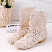 Wholesale spring and autumn fashion knitting wild hollowing wooden boots z006 rice - Lovely Fashion