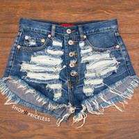 Hit Refresh Destroyed Denim Shorts