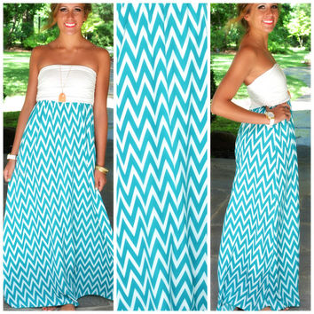 Kokomo Jade Chevron Maxi Dress