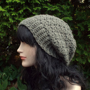 Stone Gray Slouchy Crochet Hat - Womens Slouch Beanie - Ladies Oversized Cap - Chunky Hat