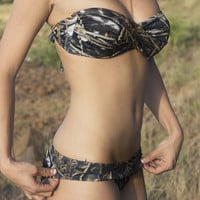CamoGirl™ Camo Strapless Twist Top