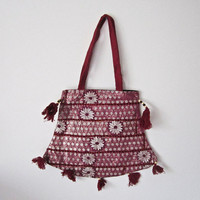 Vintage Indian handcrafted embroidery patch work mirror work, Indian cotton stain dye shoulder jhola, purse bag 029