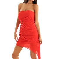 Tangerine Dazzling Strapless Asymmetrical Hem Evening Dress