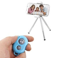 Caetle(tm) Bluetooth Wireless Remote Control Camera Shutter Release Self Timer for iPhone 5 5s 5c 4s 4, iPad 5 4 3 iPad Air Mini, Samsung Galaxy S4 S3 Note 3 2, Android Phone (Blue)