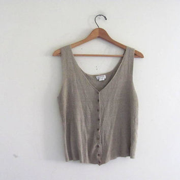 20 OFF STOREWIDE. vintage taupe silk top. knit tank top.