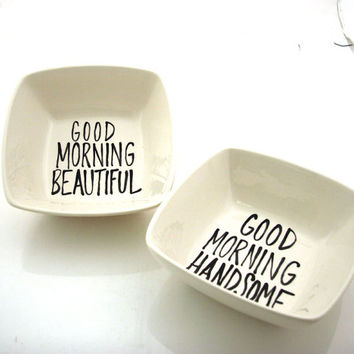 Mr and Mrs wedding gift for couples square cereal bowls, good morning handsome and beautiful,…