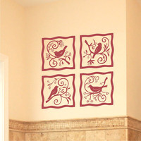 Birds on a Branch 4 Square Motif Grouping Vinyl Wall Art Decal Sticker Graphic